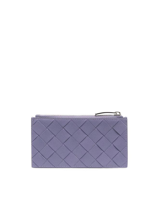 Zip Card Holder in Intrecciato in Lavender