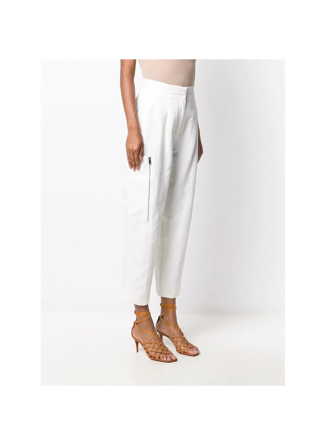 High Waisted Pants with Cargo Pockets in Linen in Cream