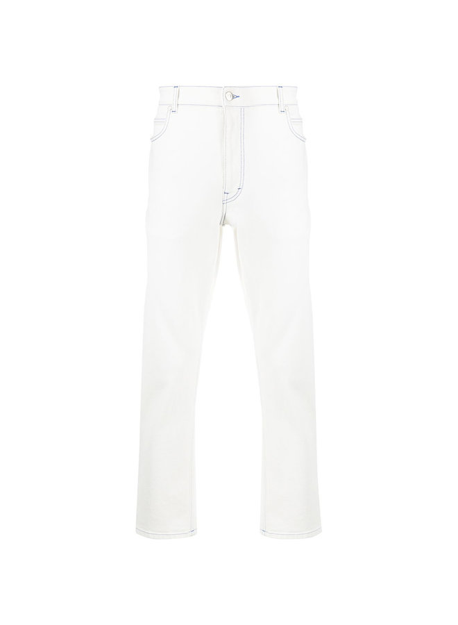 High Waist Straight Leg Denim Pants in White Wash