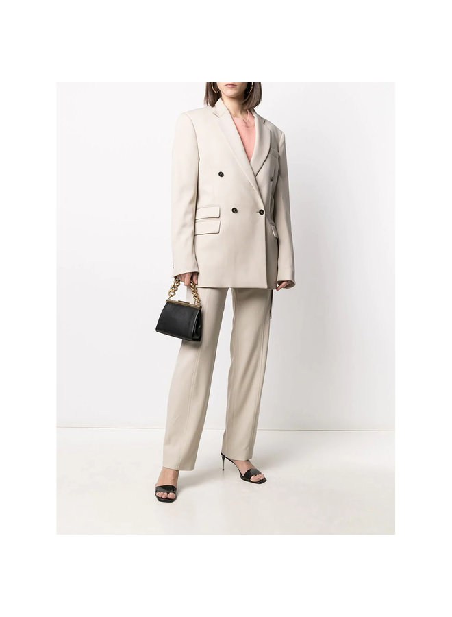 Double Breasted Blazer Jacket in Light Sand
