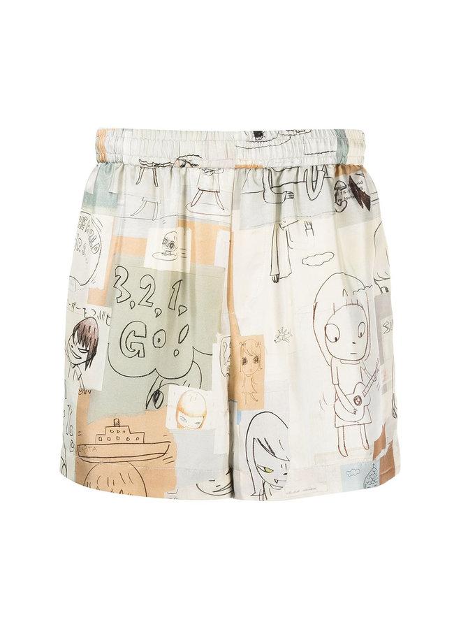 Illustration Print Shorts
