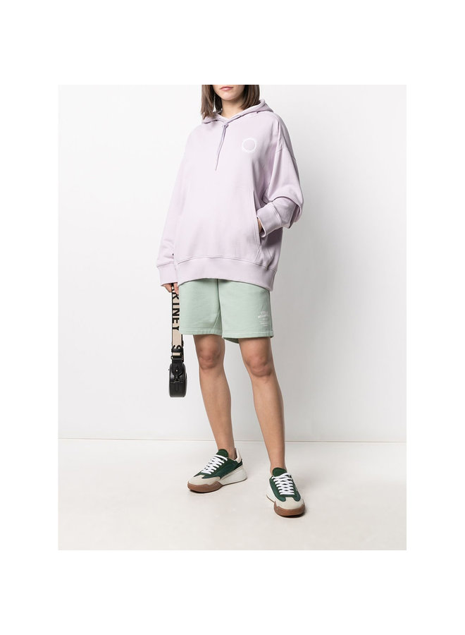 Casual Track Shorts with Logo in Cotton in Pale Mint