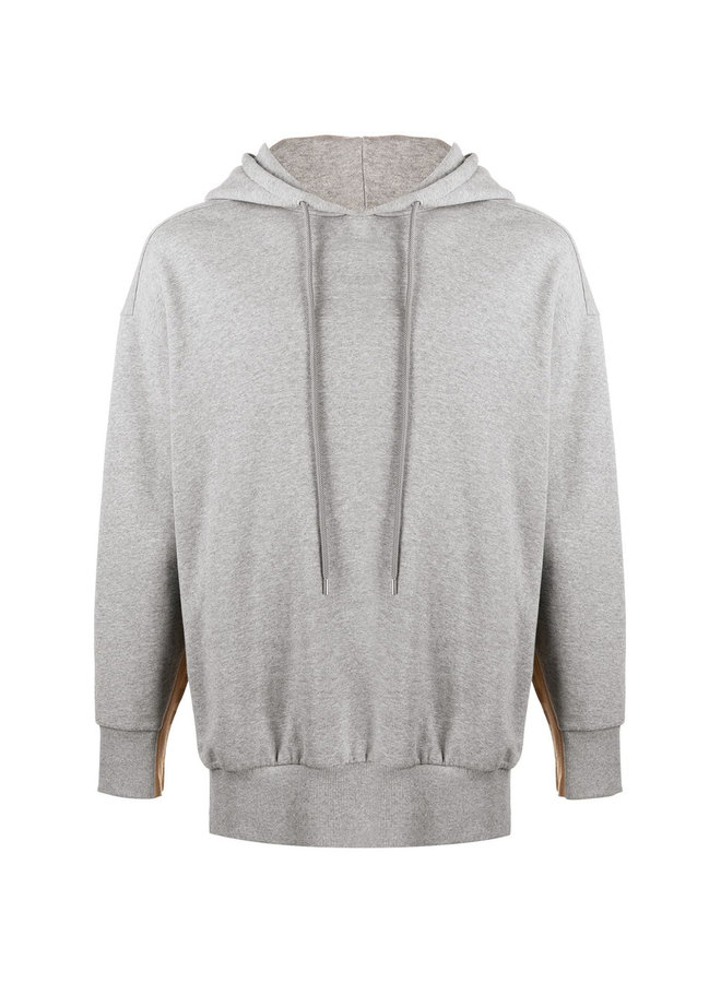 Logo Tape Hoodie in Cotton in Grey Melagne