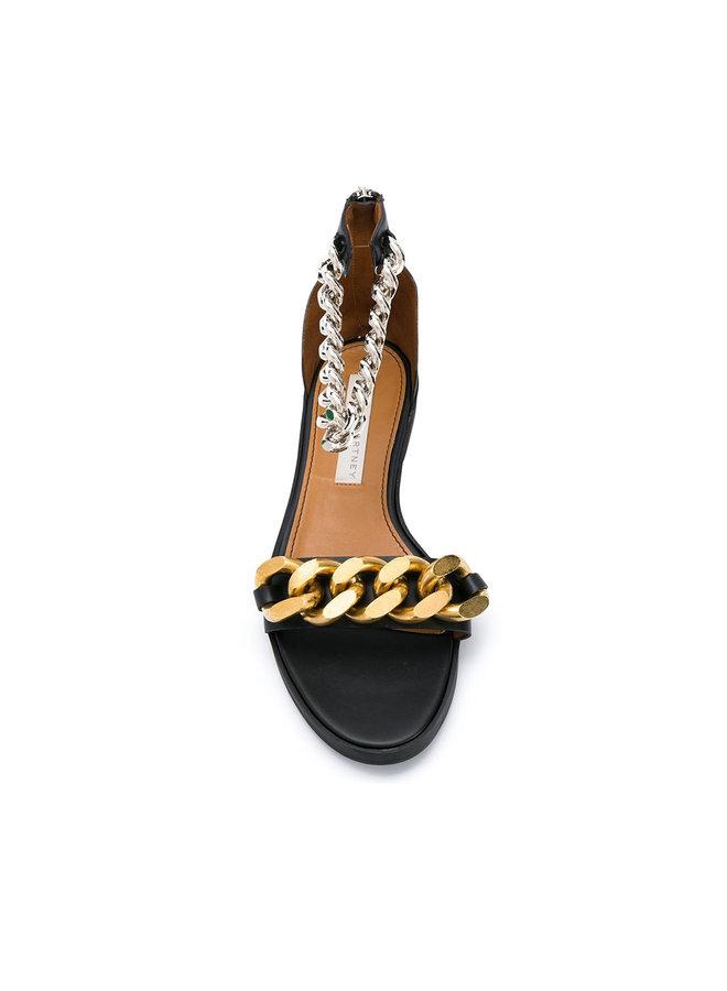 Chain Detail Flat Sandals in Black