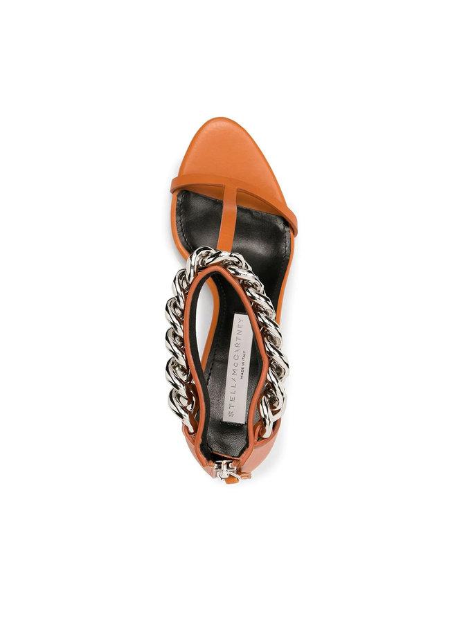 Mid Heel Falabella Chain Sandals in Burnt Orange