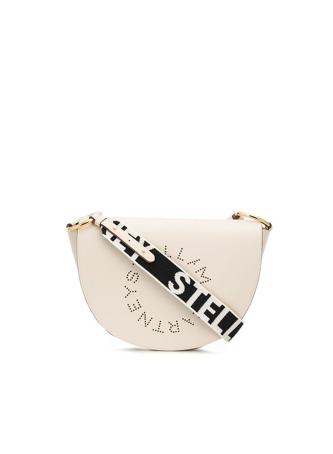 Logo Half Moon Crossbody Bag in White
