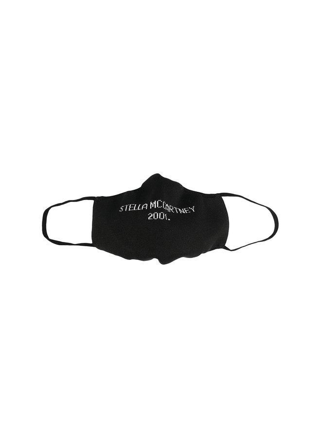 Logo Face Mask in Cotton in Black