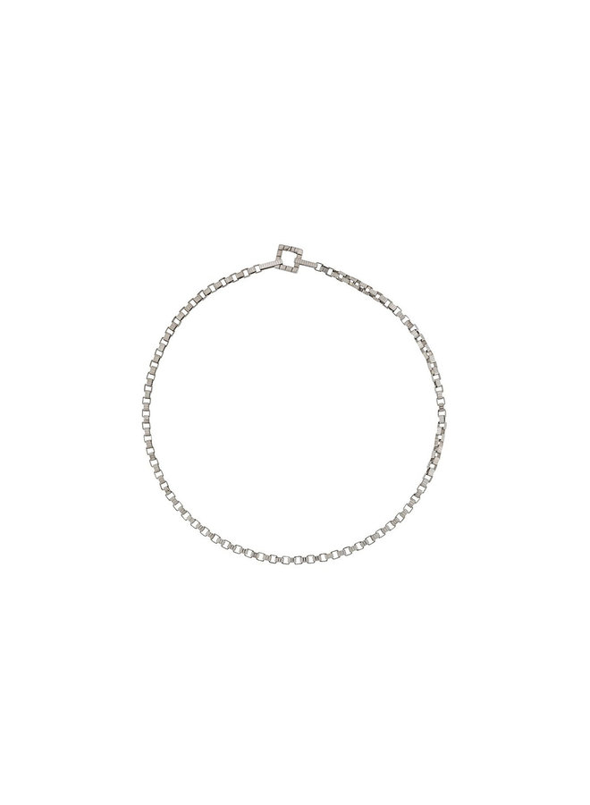 Skinny Signore Chain Choker Necklace (41CM) in Silver