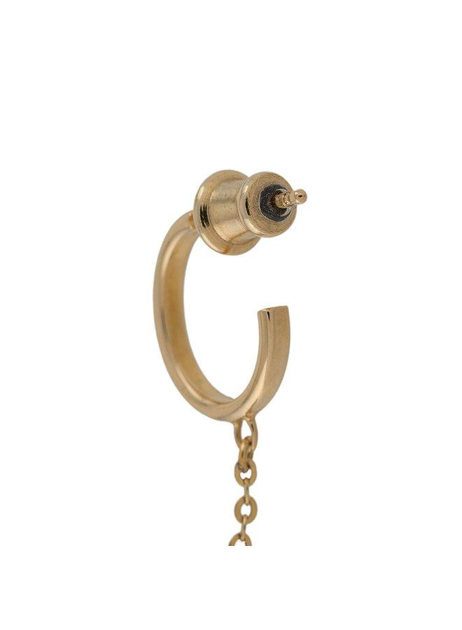 Flat Drop Earring in Gold/Black Diamonds
