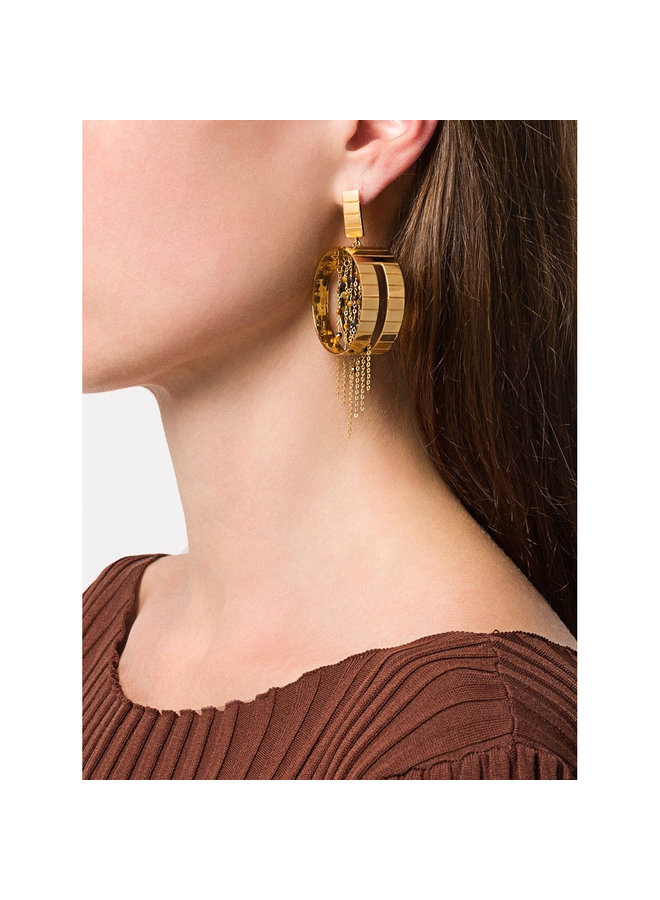 Tiger Slot Fringe Earring in Gold