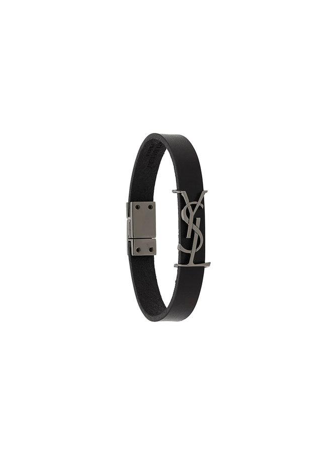 Opym Logo Bracelet in Leather in Black