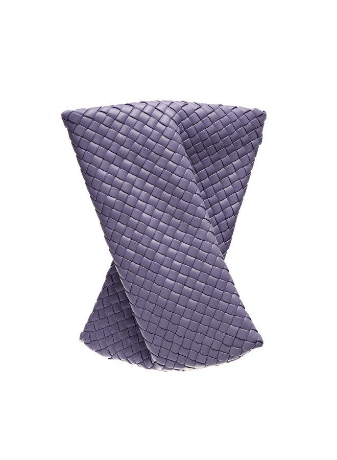 The Crisscross Intrecciato Clutch Bag in Leather in Lavender