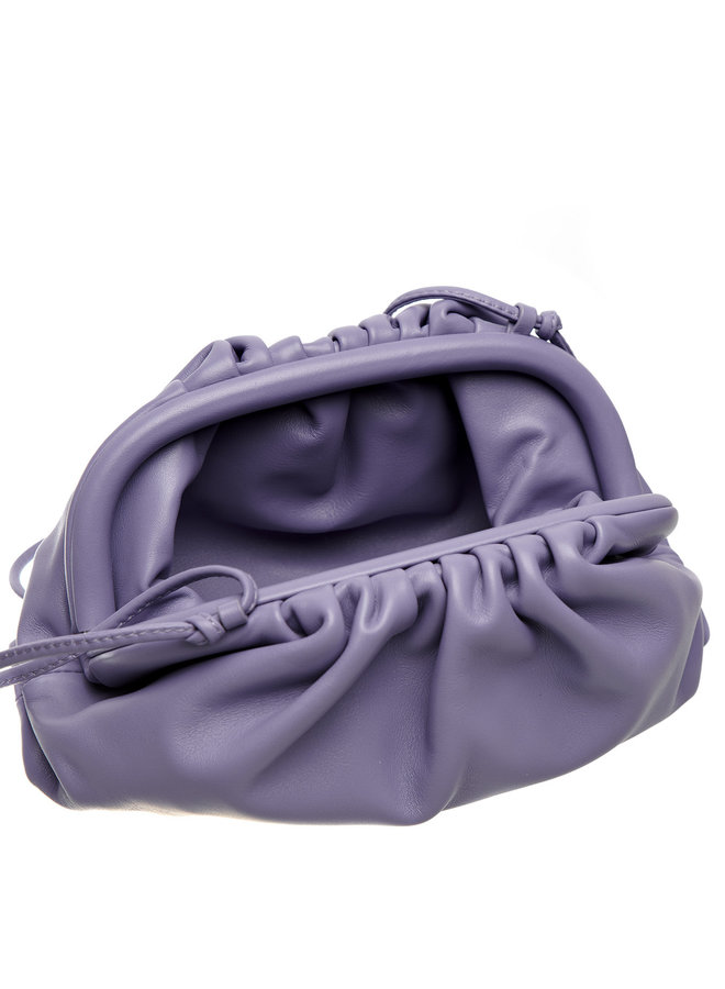 Mini Pouch Bag in Leather in Lavender