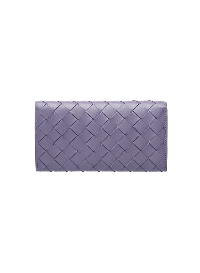 Continental Wallet in Intrecciato in Lavender