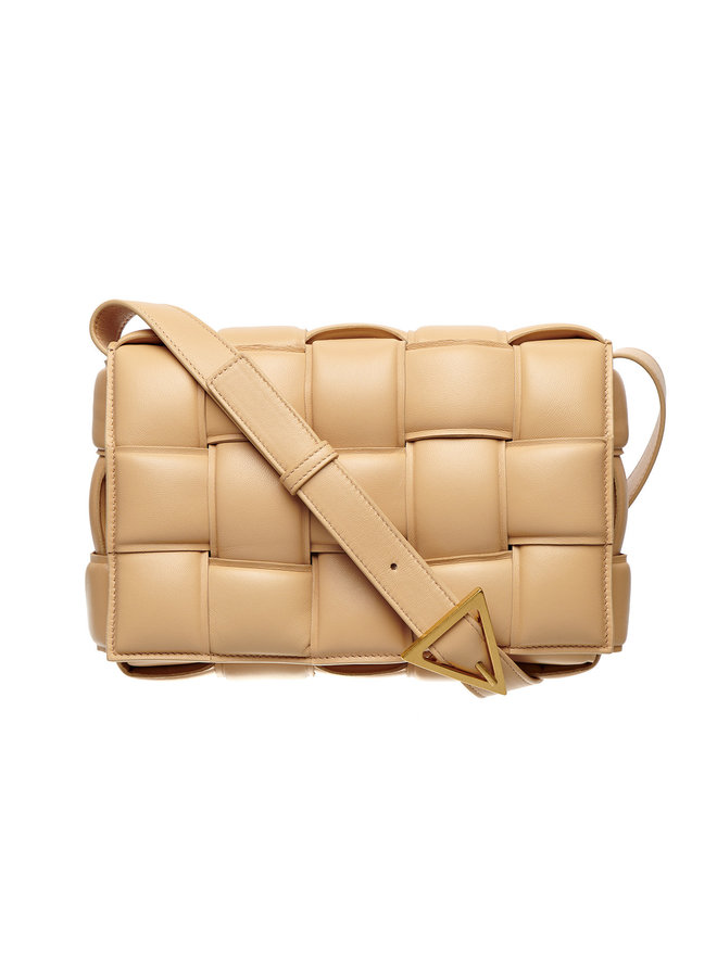 The Crossbody Padded Cassette Shoulder Bag in Leather in Almond
