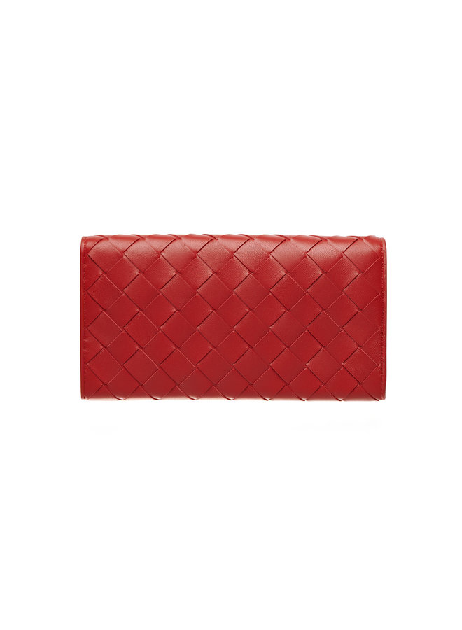 Continental Wallet in Intrecciato Leather in Chili Red