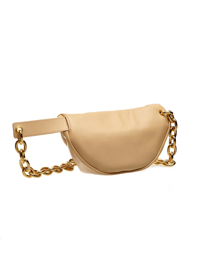 The Pouch Belt Bag in Leather in Almond