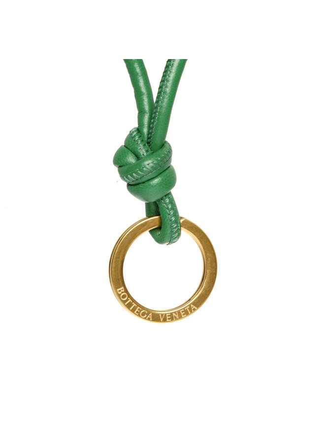 Knots Keyring in Leather in Racing Green