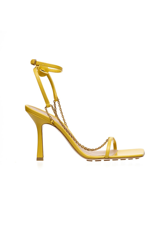 High Heel Sandals in Leather in Buttercup