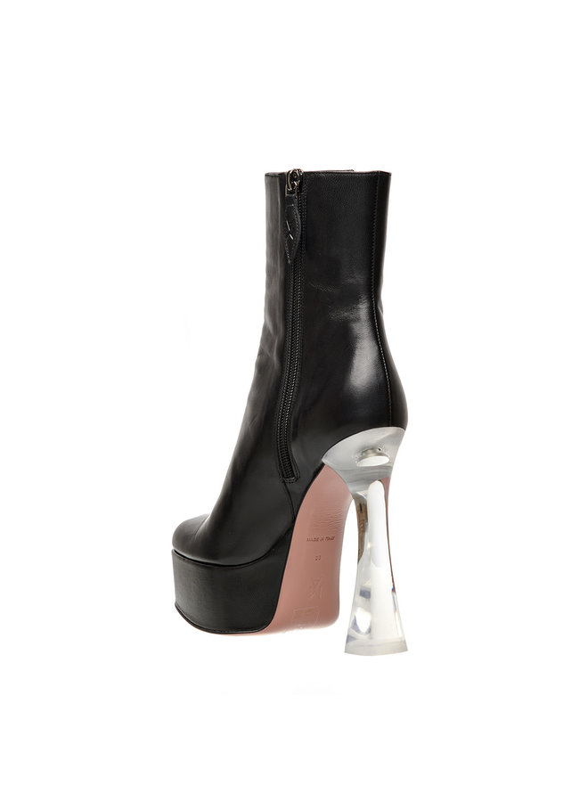 Dua High Heel Ankle Boot in Leather in Black