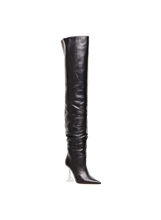 Olivia Over the Knee Boot in Leather in Black