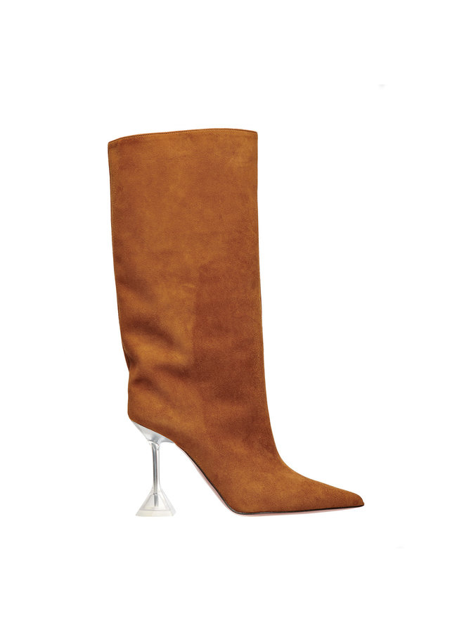 Plexi High Heel Rain Boot in Suede in Camel