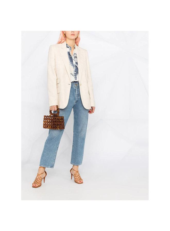 Single Breasted Blazer Jacket in Cotton in Beige