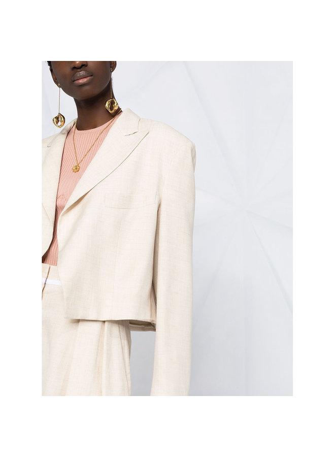 Cropped Blazer Jacket in Beige