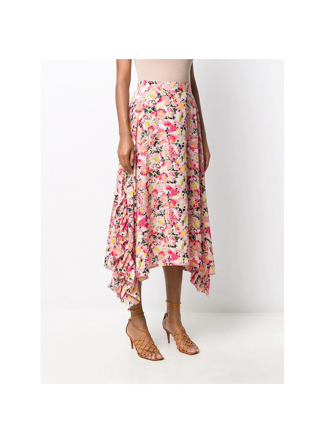Asymmetric Midi Skirt in Flower Print in Multicolor Pink