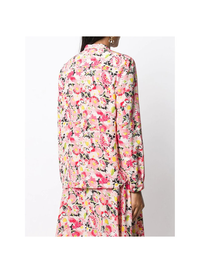 Long Sleeve Shirt in Flower Print in Multicolor Pink