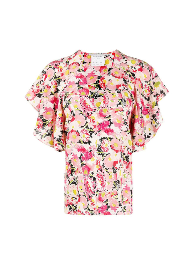 Short Sleeve Ruffle Blouse in Flower Print in Multicolor Pink