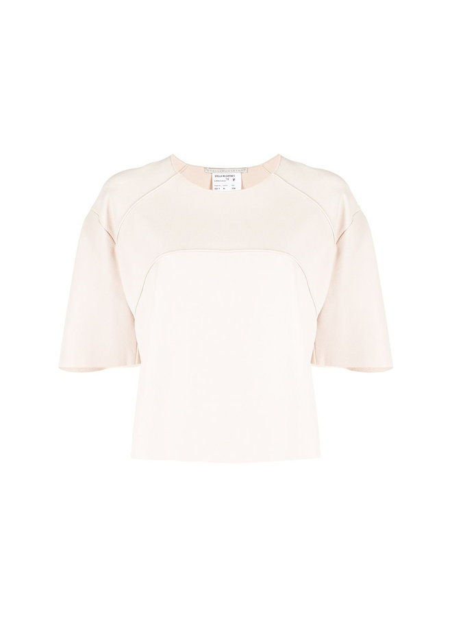 Cropped Piped-seam Trim Blouse in Porcelain
