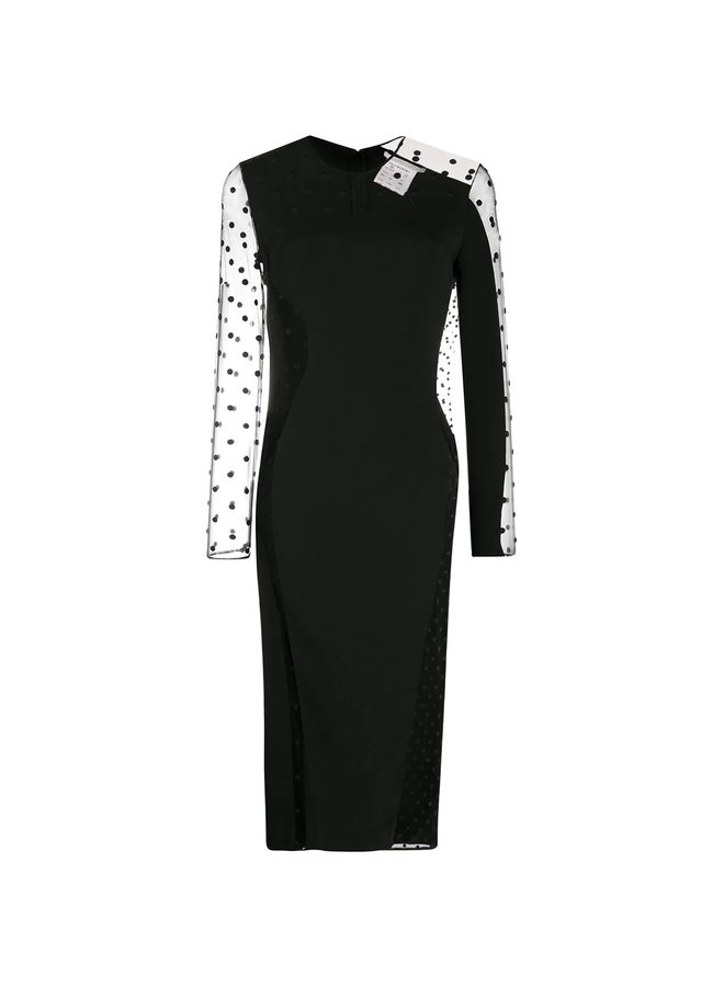 Long Sleeve Polka Dot Dress in Black