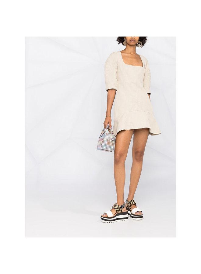 Puffy Short Sleeve Mini Dress In Cotton/Polyamide In Desert Beige