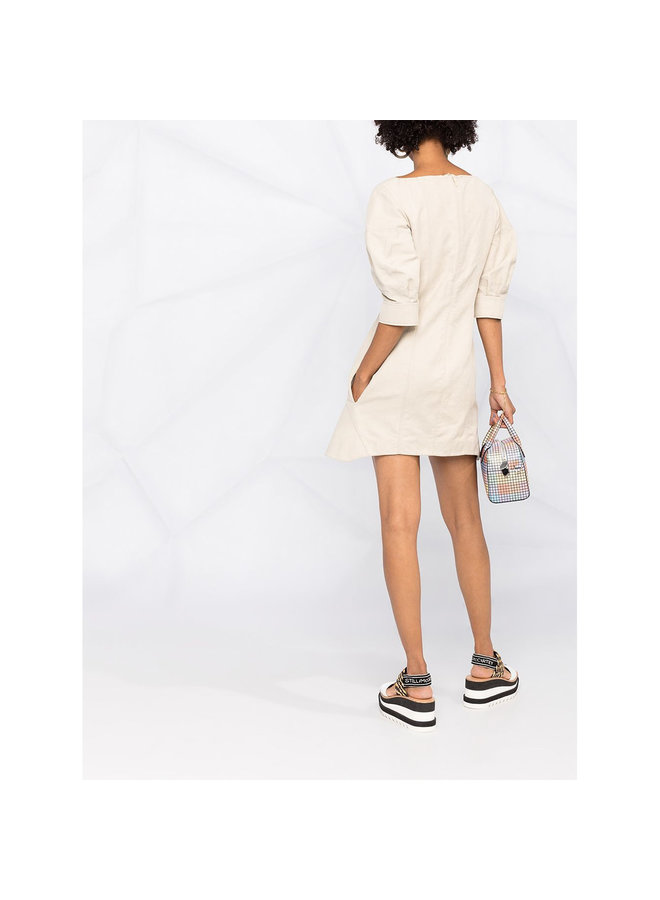 Puffy Short Sleeve Mini Dress In Cotton/Polyamide In Desert Beige