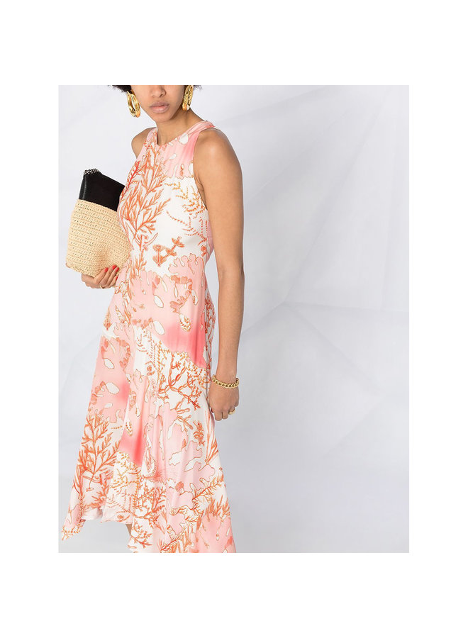 Sleeveless Asymmetric Dress in Tropical Print in Blush Pink