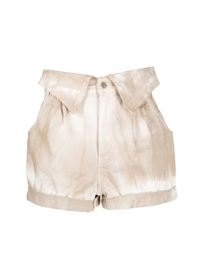 High Waisted Denim Shorts in Walnut Tie Dye