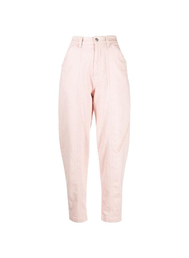 High Waisted Denim Pants in Pearl Blush
