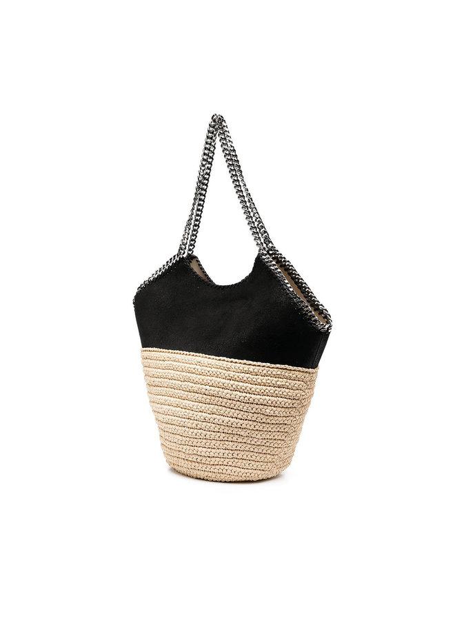 Large Falabella Shoulder Bag in Straw in Black