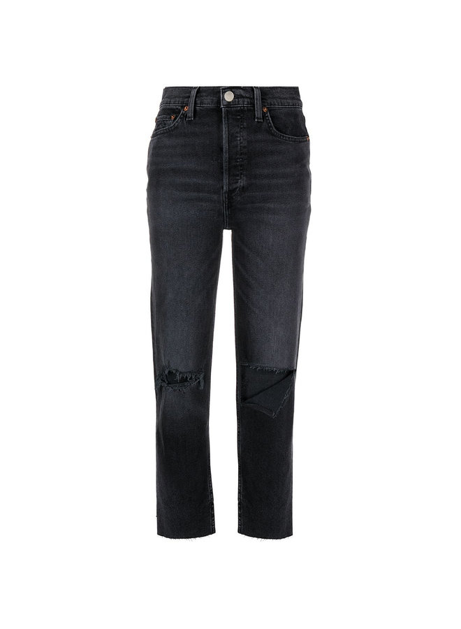 High Rise Distressed Denim Pants in Faded Black