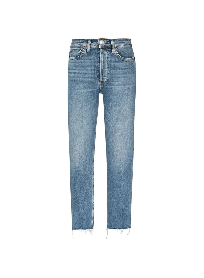 High Waisted Denim Pants in Stonewash Blue