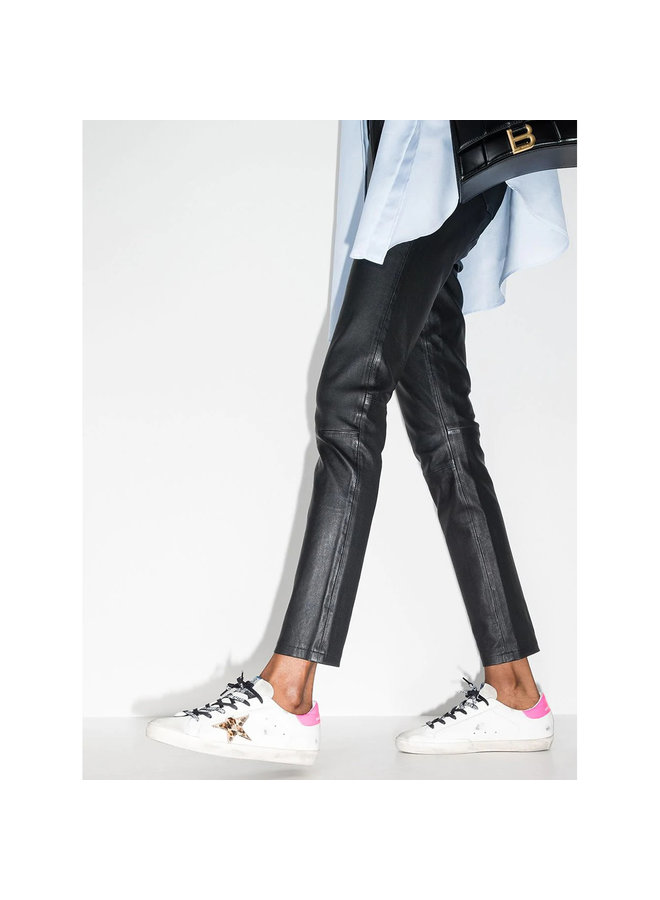 Superstar Low Top Sneakers in Leather in White-Leopard
