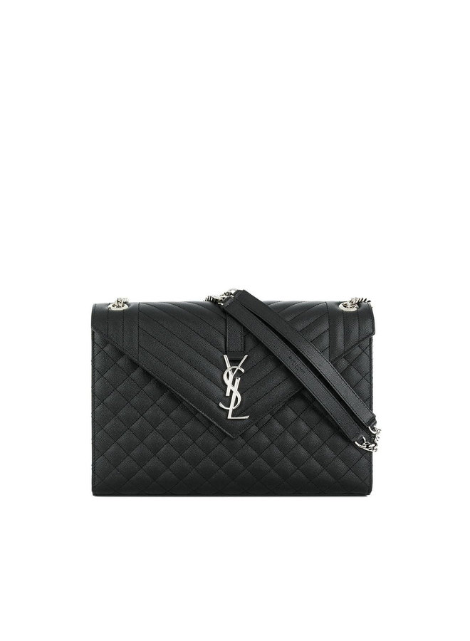 Envelope Large Shoulder Bag in Leather in Black/Silver