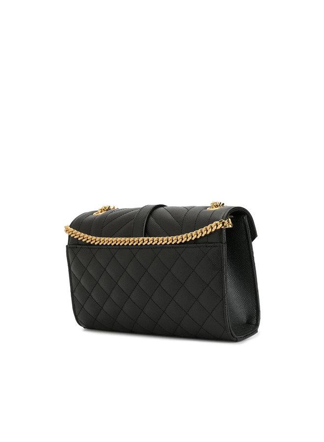 Envelope Small Crossbody Bag in Leather in Black
