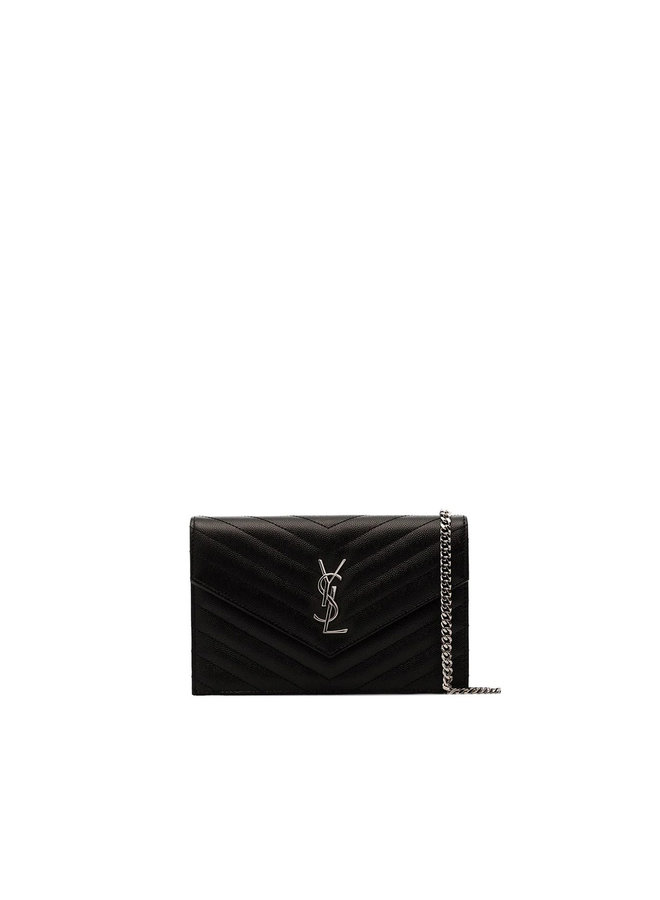 Small Chain Wallet Crossbody Bag in Leather in Black