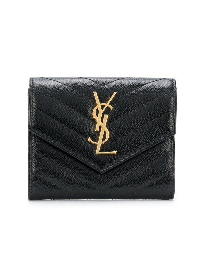Monogram Trifold Wallet in Leather in Black
