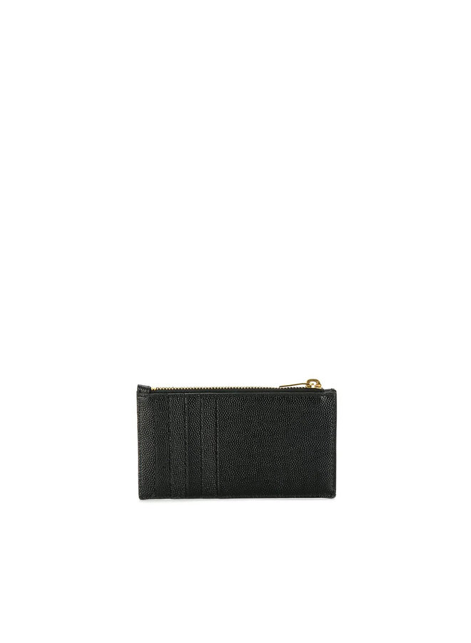 Monogram Zip Card Holder in Leather in Black
