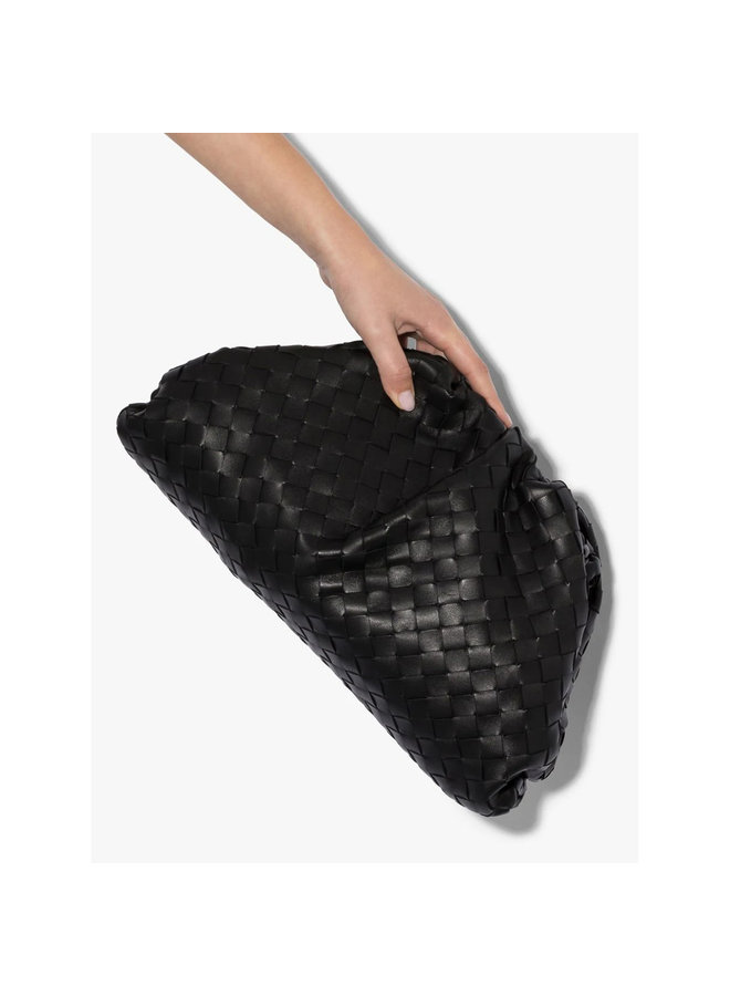 The Pouch Large Clutch Bag in Intrecciato Leather in Black