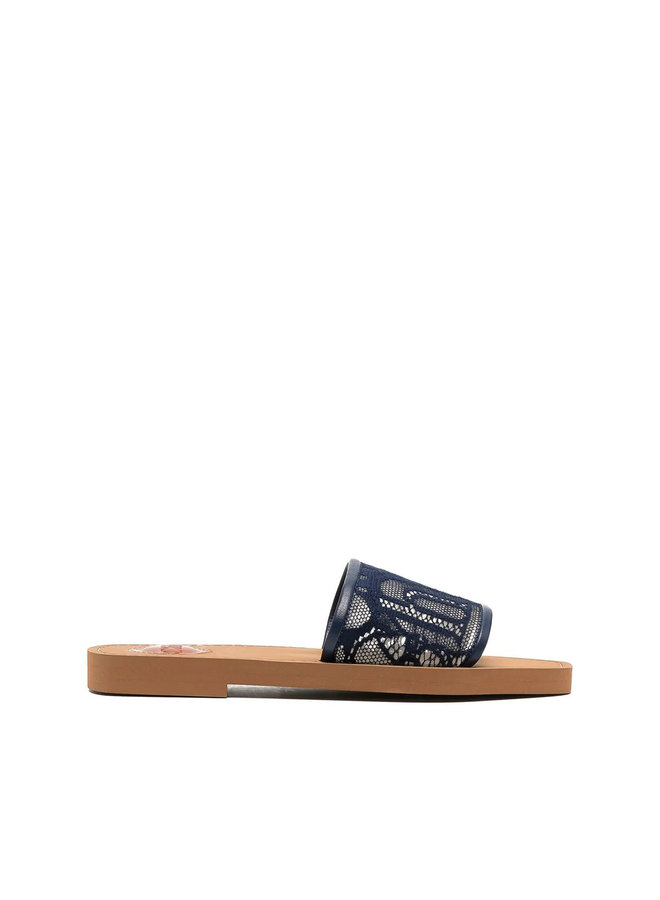 Woody Logo Flat Mules in Lace in Blue Lagoon