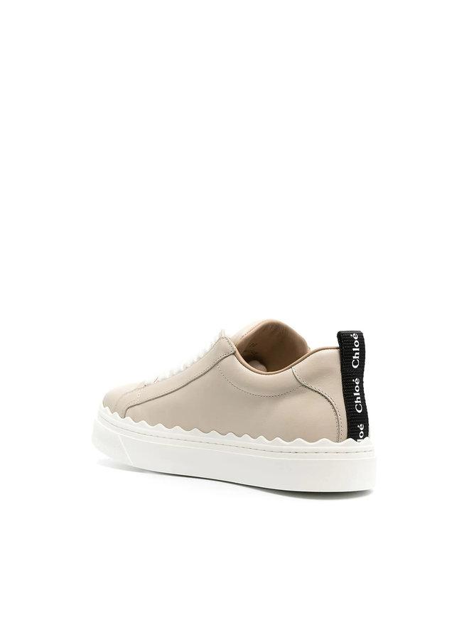 Lauren Low Top Sneakers in Leather in Wheat Beige